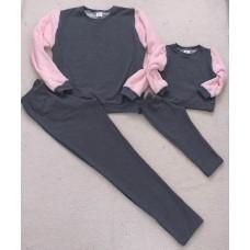Conjunto Moletom cinza e rosa