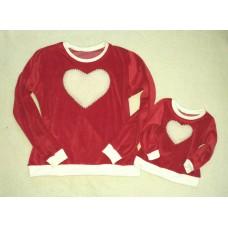 Blusa coração veludo vermelho