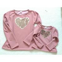 Blusa rose coração paetê