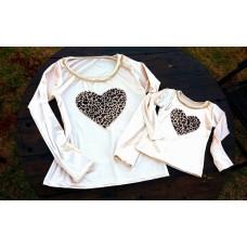 kit blusinha veludo off coração onça