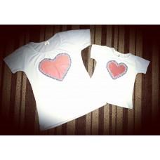 kit blusinha branca coração color