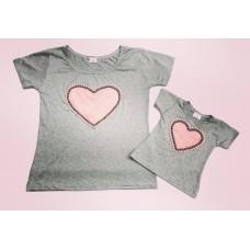 kit blusinha cinza coração rosê
