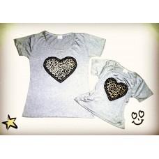 kit blusinha cinza coração onça