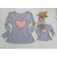 kit blusinha cinza ML coração ROSÊ