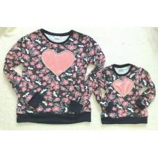 Blusa moletinho floral coração