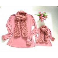 kit blusinha rosê cachecol