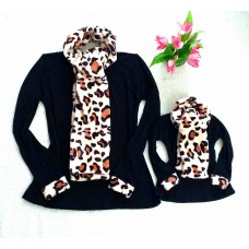 kit blusinha pt cachecol onça