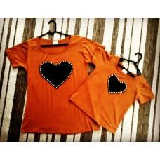 kit blusinha coração telha