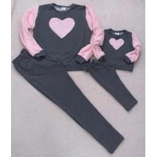 Conjunto Moletom cinza e rosa cor