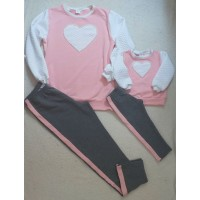 Conjunto calça e blusa coração Mctt rosa e cinza