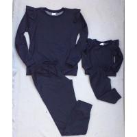 Conjunto calça e blusa moletinho cor jeans