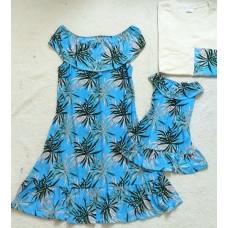 Kit família azul claro folha