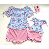 Conjunto shorts ROSE jacq com blusinha floral