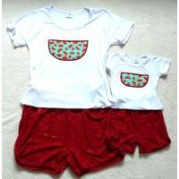Conjunto shorts e blusa melancia