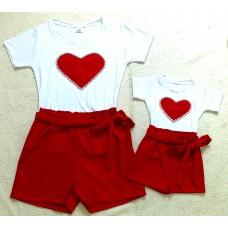 Conjunto  shorts verm e blusa cor verm