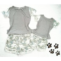 Conjunto shorts cinza onça com blusa