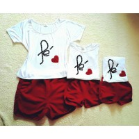 Conjunto shortinho vermelho com blusa fé trio
