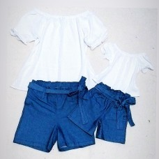 Conjunto jeans bengaline com bata branca