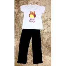 Pijama calça preta e blusa vovó coruja