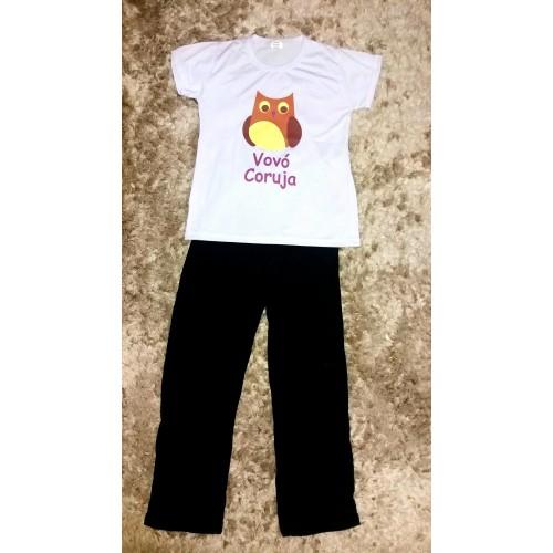 416925fba Pijama calça preta e blusa vovó coruja