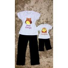 Pijama calça preta e blusa vovó coruja e corujinha