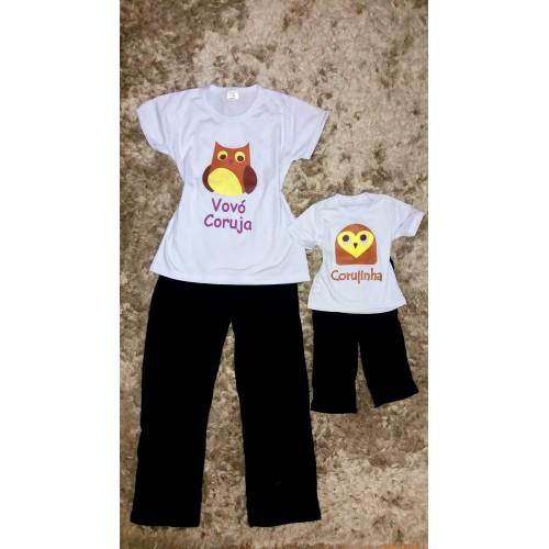 fa436716c Pijama calça preta e blusa vovó coruja e corujinha
