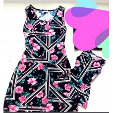 Kit vestido az marinho flor