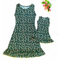 Kit vestido verde oliv floral