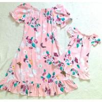 Kit vestido rosa CLR flor