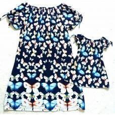 Kit borboleta linho azul