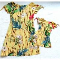 Kit vestido folha amarelo