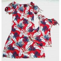 Kit vestido folha vermelho