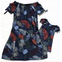 Kit vestido azul folha