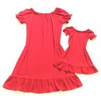 Kit vestido vermelho viscolinho