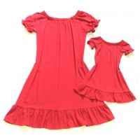 kit vestido vermelho manga e babadinho