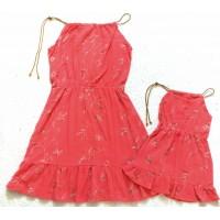 kit vestido Ana ruga coral laci