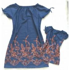 Kit  vestido jeans tencel bordado