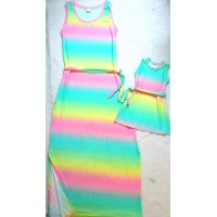 Kit vestido mãe longo tie dye