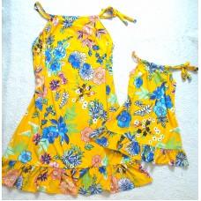 kit vestido mf amarelo flor