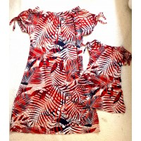 kit vestido vermelho folha