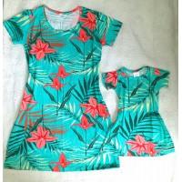 kit vestido verde flor