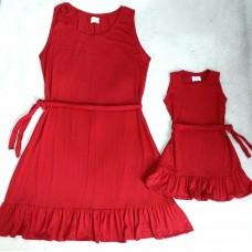 kit vestido vermelho regata babadinho