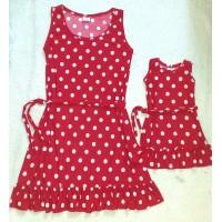 kit vestido poá vermelho