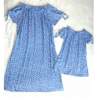 kit vestido viscose azul