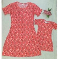 kit vestido canelado coral floral