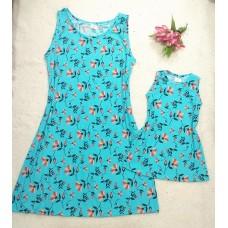 kit vestido canelado azul floral