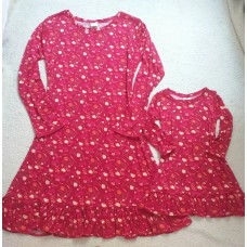 kit vestido vermelho floral