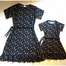 kit vestido canelado preto floral