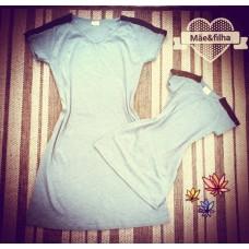 kit vestido cinza canelado