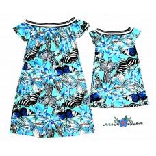 kit vestido borboleta azul